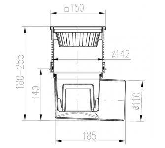 KV - boční D110 vodní hl. NEREZ