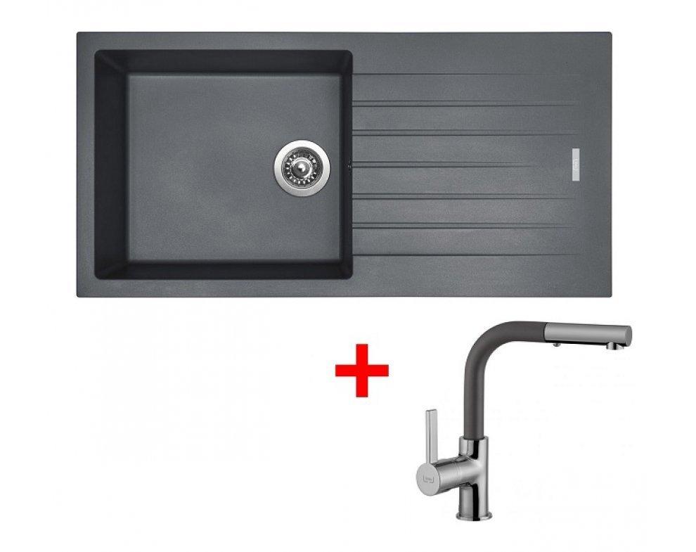 SET drez granitový Sinks PERFECTO 1000 Titanium + batéria so sprškou ENIGMA S Titanium