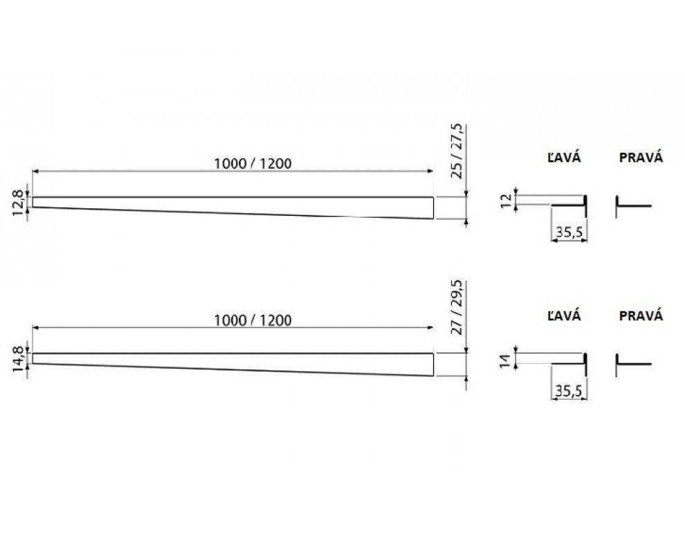 Nerezová lišta pre spádovanú podlahu, výška 12 mm, dĺžka 1200 mm, pravá