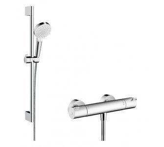 batéria termostatická Ecostat 1001 CL so sprchovou súpravou, CROMETTA Vario, biela/chróm