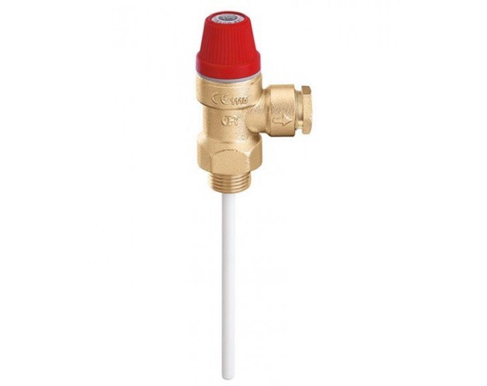 """Teplotný a tlakový poistný ventil, 3/4"""" M x d22, 3 bar"""