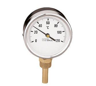 """Teplomer, 1/2"""" spodné napojenie, priemer 80 mm, rozsah 0÷120°C"""