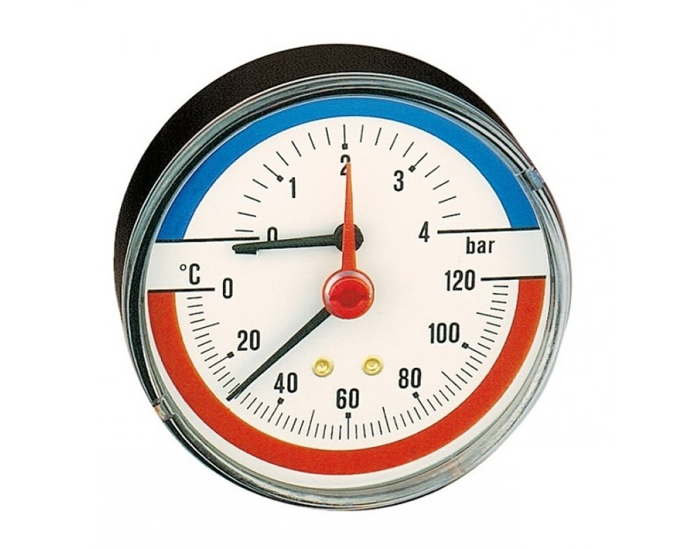 "teplomer a tlakomer, 1/2"" napojenie zozadu, priemer 80mm, rozsah: 0÷4   bar; 0÷120°C"