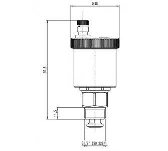 Automatický odvzdušňovací ventil MINICAL, mosadzný, pochrómovaný, priamy 1/2