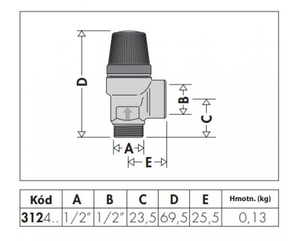 Poistný ventil MF 1/2