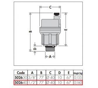 Automatický odvzdušňovací ventil ROBOCAL, mosadzný, priamy 1/2