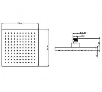sprchová hlava štvorcová, 200x200mm, HERZ SQ BLACK, čierna