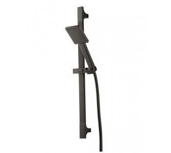 sprchová súprava so sprchovou tyčou, ručná sprcha, hadica, HERZ SQ BLACK, čierna