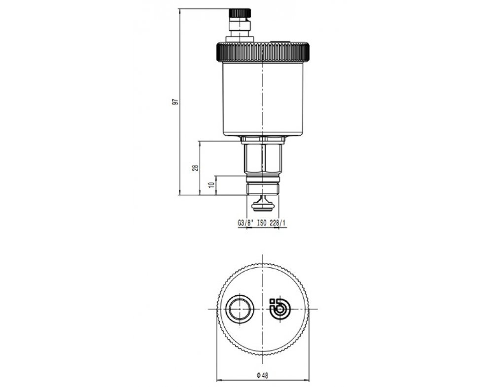 Automatický odvzdušňovací ventil MINICAL, mosadzný, pochrómovaný, priamy 3/8