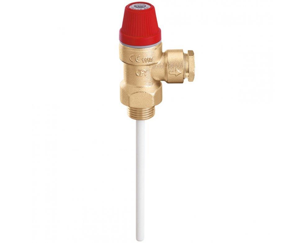 """Teplotný a tlakový poistný ventil, 3/4"""" M x d22, 7 bar"""
