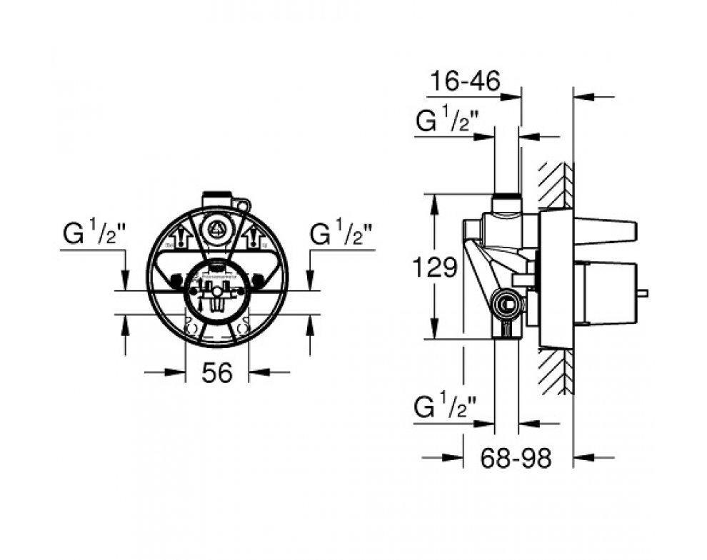 Univerzálne montážne podomietkové teleso, pre sprchu a vaňu, DN 15