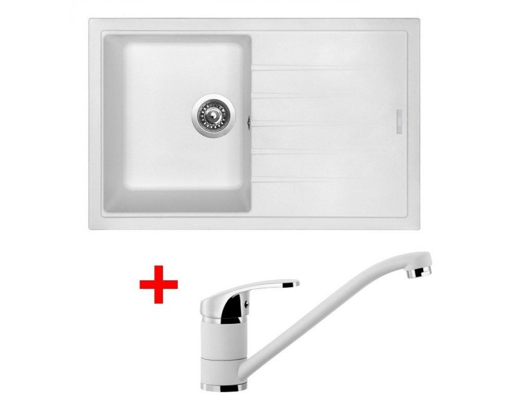 SET drez granit Sinks BEST 780 Milk + batéria stojanková PRONTO GR
