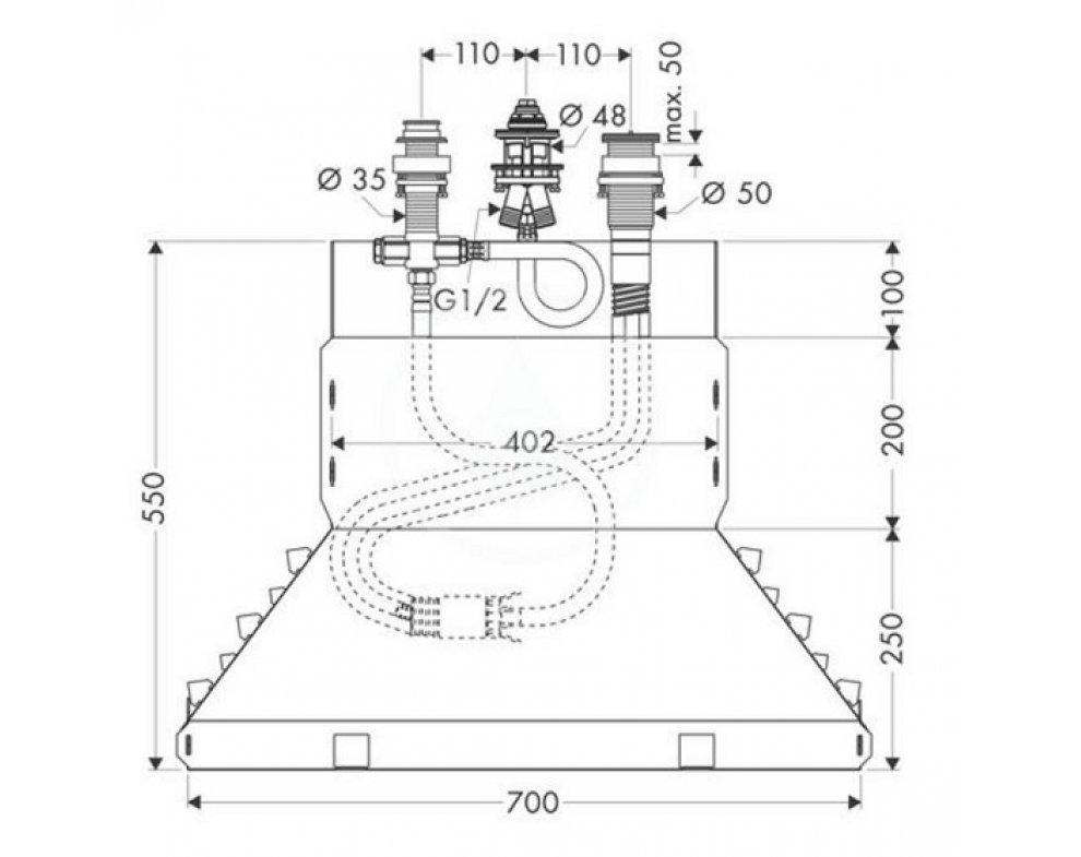 Základné teleso 3-otvorovej pákovej batérie na okraj vane