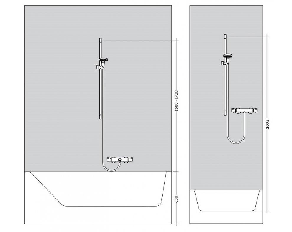 sprchová súprava s mydelničkou, sprchová tyč 90cm, RAINDANCE SELECT S, chróm