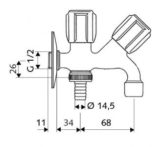SCHELL kombinovaný výtokový ventil COMFORT