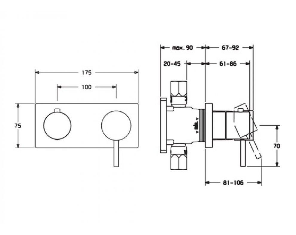 HANSAMATRIX Súprava na konečnú montáž pákovej sprchovej batérie