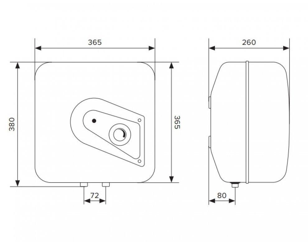 elektrický zásobníkový ohrievač vody s termostatickým spínaním a tlakovou prevádzkou BD 1,5kW 12l vrchný