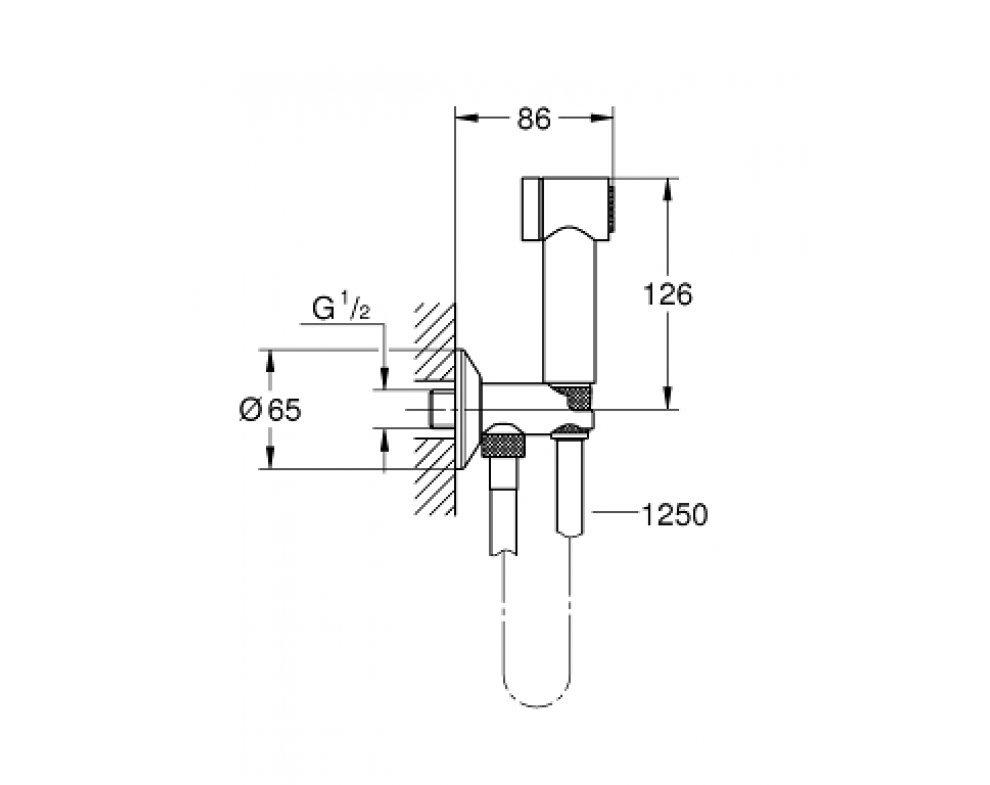 Nástenný ventil s ručnou bidetovou spŕškou,Sena
