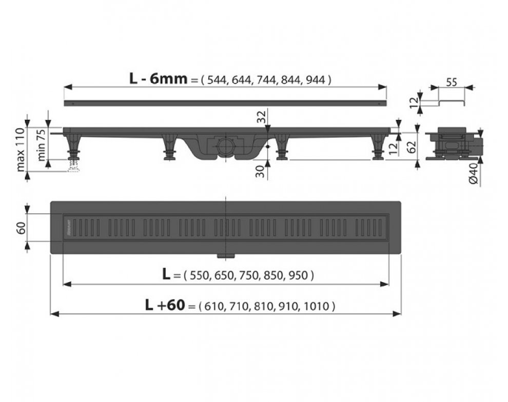 podlahový žľab s okrajom pre perforovaný rošt, 650mm, matný čierny plast