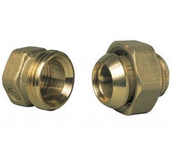 mosadzná závitová spojka kónická, priama, kov na kov 1