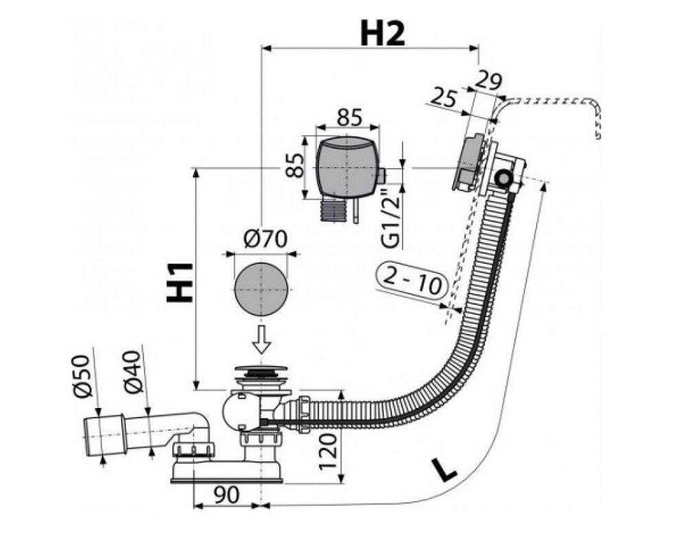 Sifón vaňový automat s napúšťaním prepadom chróm (dĺžka 120 cm)