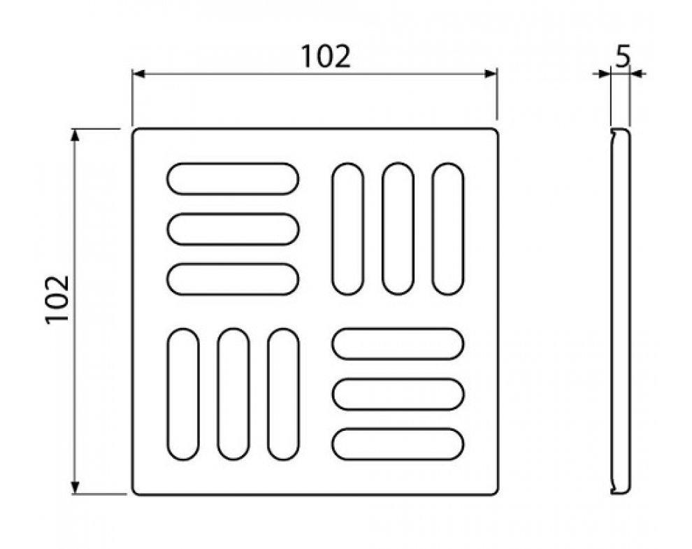 Mriežka 102×102 mm nerez