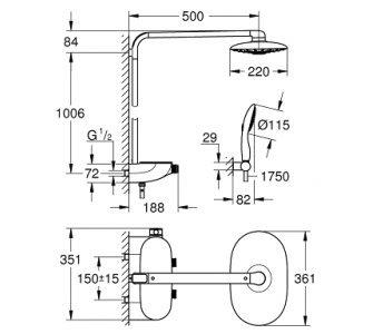 Sprchová súprava 360 Duo, chróm, Rainshower SmartControl