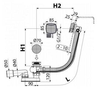 Sifón vaňový automat s napúšťaním prepadom, kov