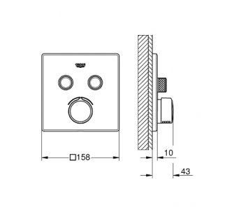 batéria pod omietku s dvoma ventilmi, chróm, Smart Control