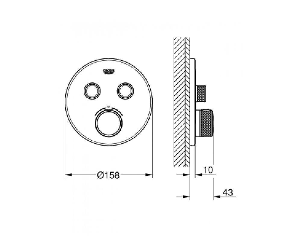 Termostatická batéria pod omietku s dvoma ventilmi, chróm, Grohtherm Smart Control