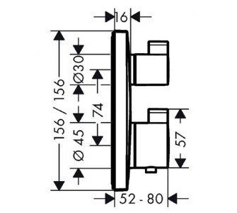 batéria sprchová podomietková termostatická pre 2 odberné miesta, ECOSTAT SQUARE