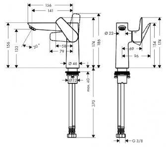 batéria umývadlová stojanková bez odtok. garnitúry, 150, TALIS E