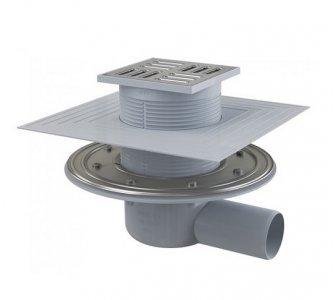 Podlahová vpusť 105x105/50 bočná, mriežka nerez,nerezová príruba a límec 2. úrovne izolácie, kombinovaná zápachová uzávera SMART