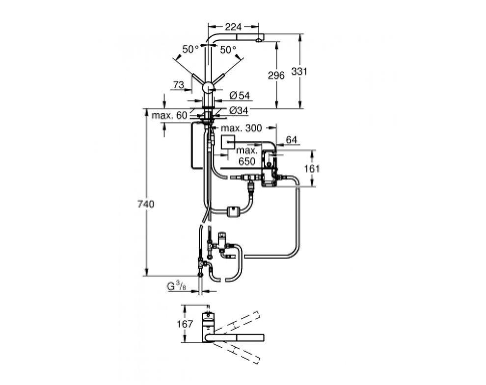 Páková elektronická drezová batéria Minta Touch
