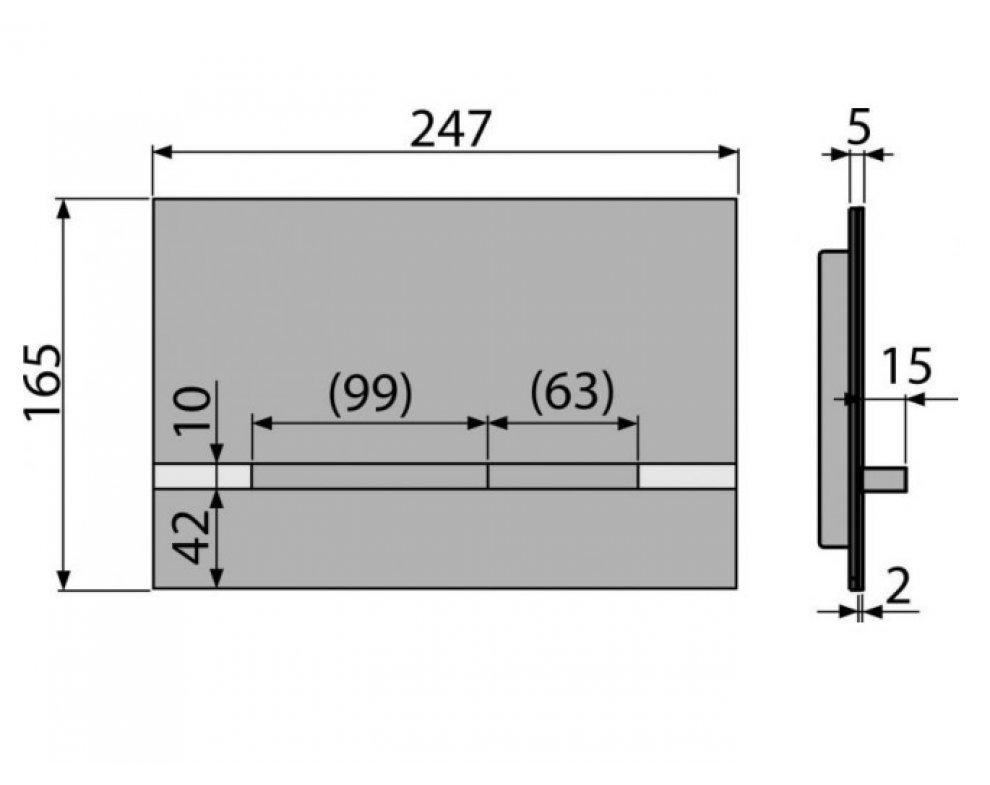 Ovládacie tlačidlo pre predstenové inštalačné systémy, alunox-mat/lesk
