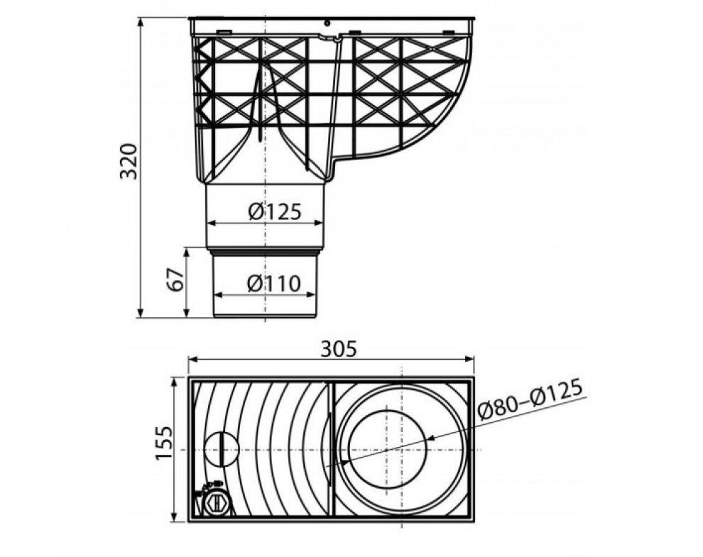 univerzálny lapač strešných splavenín 300×155/125/110mm priamy, šedý