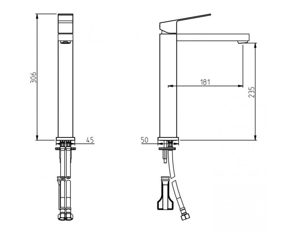 batéria umývadlová stojanková vysoká bez odtok. garnitúry, CINQUE