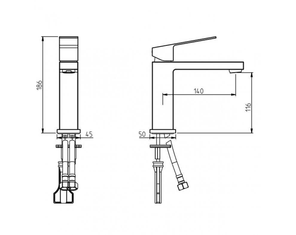 batéria umývadlová stojanková vyššia s predĺženým ramenom, bez odtok. garnitúry, CINQUE