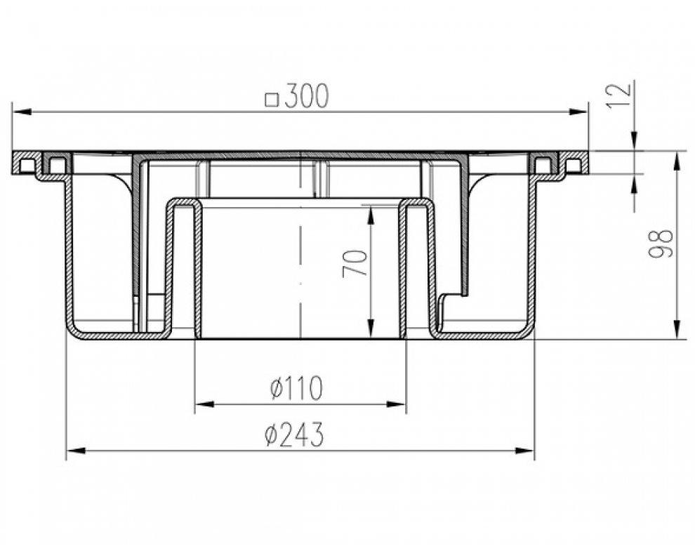 Podlahová vpusť 300x300 mm, spodná, plast, DN110
