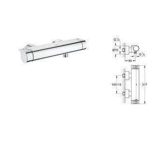 Batéria sprchová stenová termostatická bez príslušenstva, GROHTERM 2000