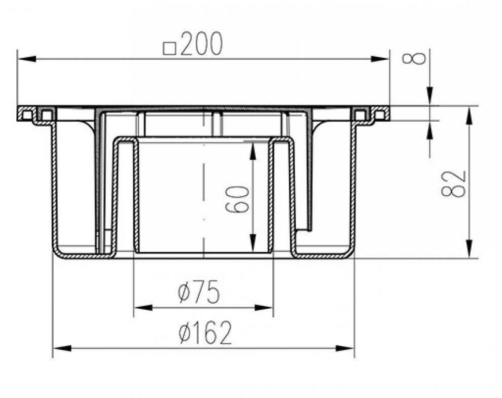 Podlahová vpusť 200x200 mm, spodná, plast, DN75