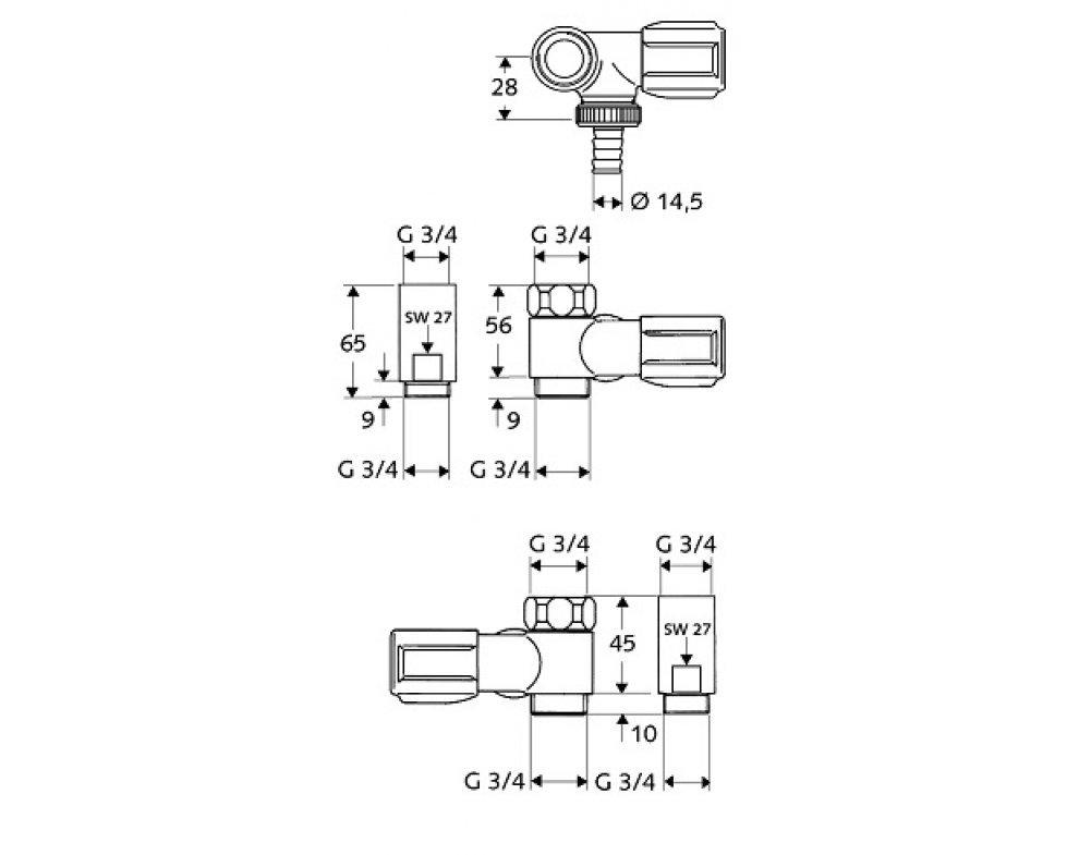 SCHELL vedľajší pripojovací ventil COMFORT 3/4