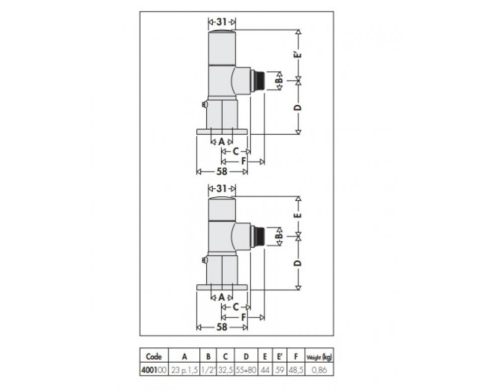 HIGH-STYLE designové radiátorové ventily - pár, rohové prevedenie, chróm