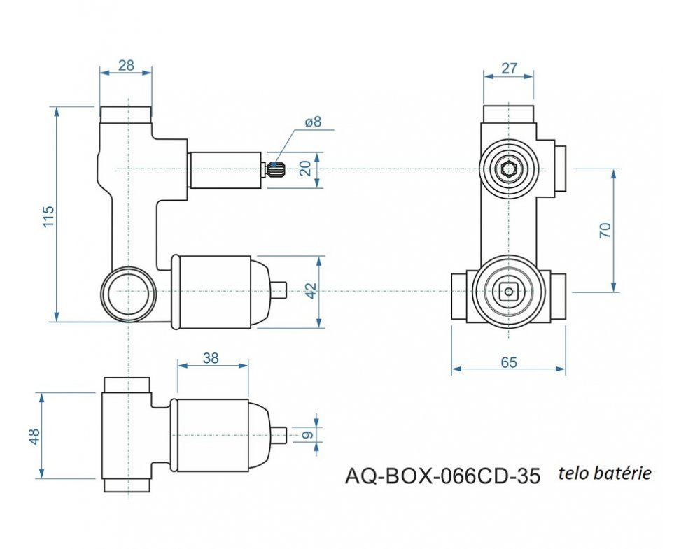 batéria AQS sprchová podomietková pre 2 odberné miesta, s AQ-boxom a s keramickým prepínačom, CINQUE