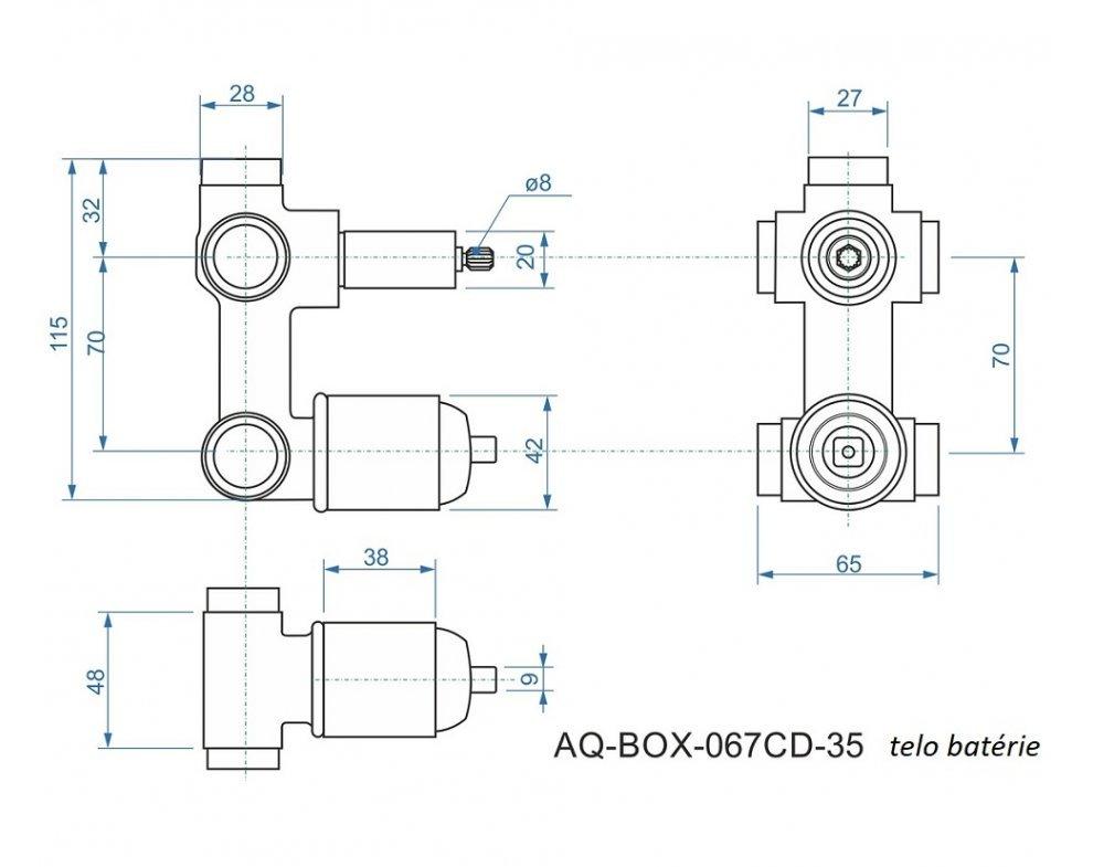 batéria AQS sprchová podomietková pre 3 odberné miesta, s AQ-boxom a s keramickým prepínačom, CINQUE