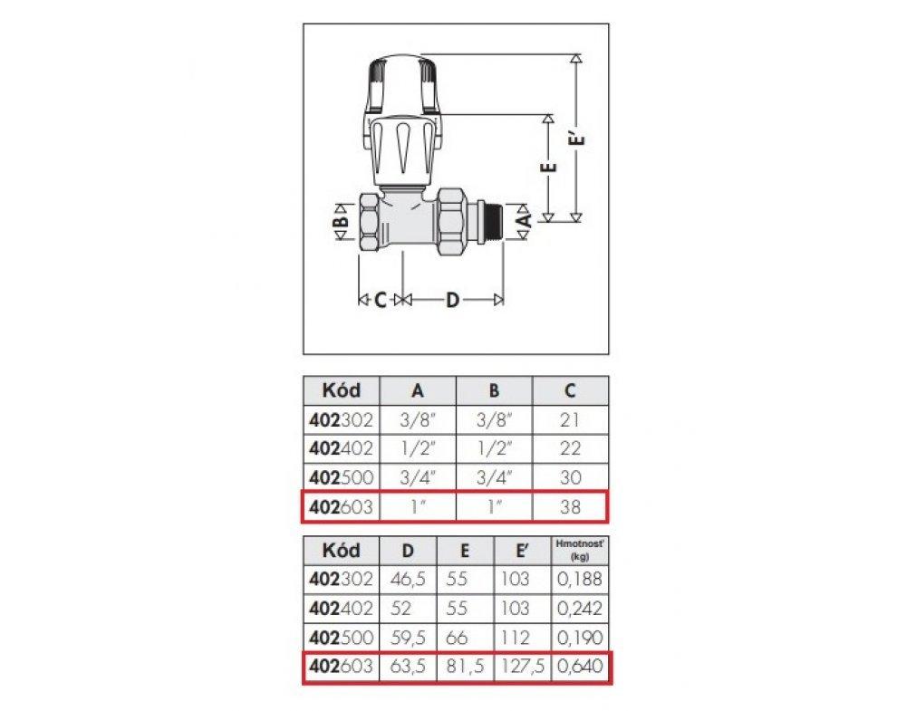 radiátorový ventil priamy 1