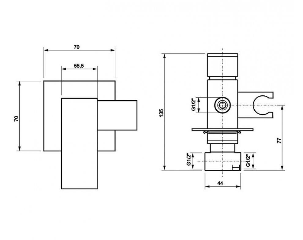 batéria páková podomietková, s bidetovou sprškou a integrovaným držiakom, CINQUE, chróm