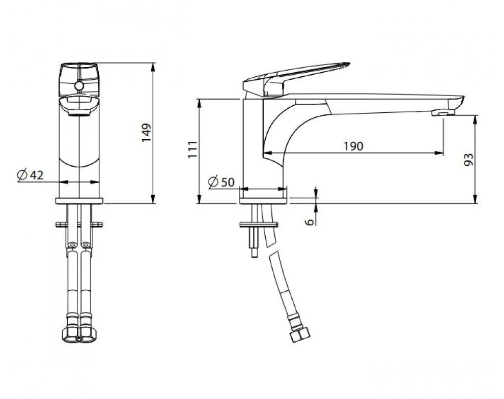 batéria umývadlová stojanková s dlhým ramenom bez odtok. garnitúry, LAGUNA