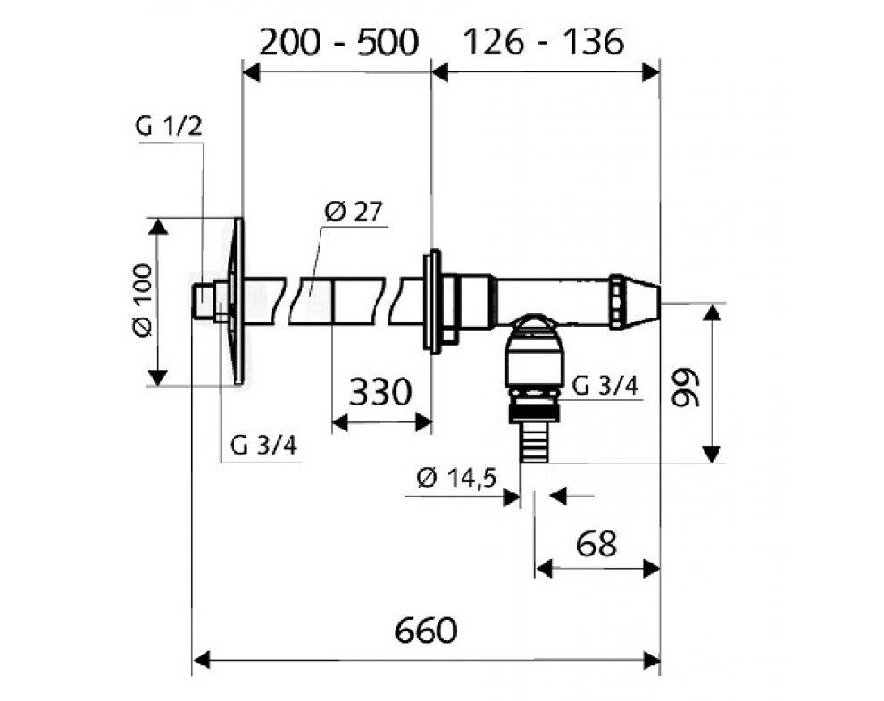 SCHELL ventil mrazuvzdorný  POLAR II Set zkracovateľný na nástrčný kľúč, rukoväť Comfort 1/2