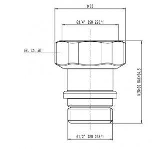 """Teleskopická jednotná koncovka s maticou pre radiátorové ventily a šróbovacie ventily,  1/2"""" M x 3/4"""" F matica"""